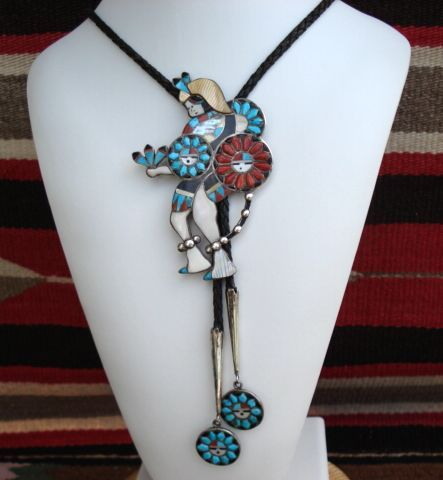 1950's Magnificent Native American ZUNI Sun God Dancer Bolo Tie Multiple Stone Inlay Sterling