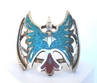 Fantastic Vintage Native American Large PEYOTE BIRD Sterling Silver Bracelet Turquoise & Coral Inlay