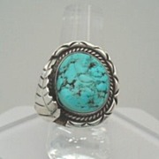 Vintage Native American Ring Chunky Turquoise Sterling Silver Overlaid Leaf Hand Chasing