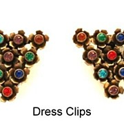 Vintage Matched Set of Early 1930's Dress Clips Rhinestones & Brass Flowers