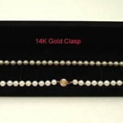 "Genuine Vintage Cultured Pearl Necklace 18 1/4"" 14K Gold Clasp"