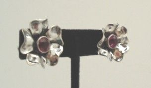 Exquisite Vintage Sculpted Sterling Silver Flower Earrings Amethyst Rhinestones Marked