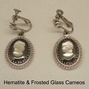 Ornate Vintage Frosted Glass Cameo & Hematite Earrings