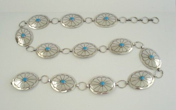 Vintage Native American Linked Concho Belt Sleeping Beauty Turquoise & Ornate Sterling Stampings