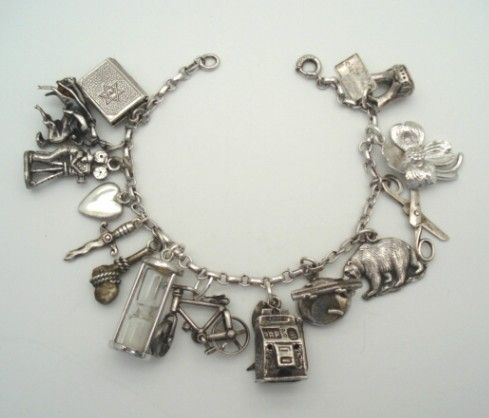 Fantastic 1940 S Loaded Sterling Silver Charm Bracelet 14