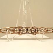 "Vintage Floral 4"" Brooch Brass C-clasp Simuated Amethyst Stones"