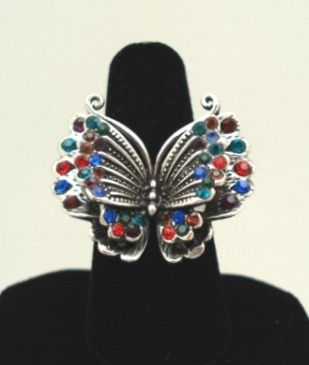 Vintage Silver Tone Butterfly Ring Rainbow of Rhinestones Layered Dimensional