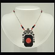 Premier Art Deco Nouveau Jet Black Coral Necklace Ornate Silver Florals