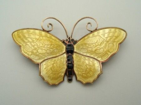 "Signed David ANDERSEN Norway Butterfly Brooch Pin LARGE 2 3/8"" Sterling Silver Guilloche Enamel"