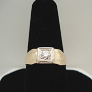 Vintage Pre-1920 14KT Gold European Cut Diamond Art Deco Ring Hallmarked AS
