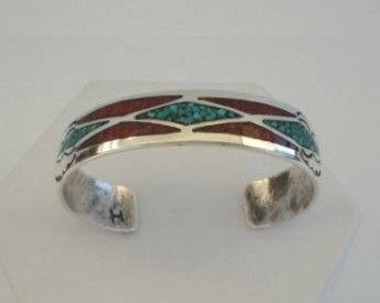 Vintage Native American Bracelet Turquoise & Coral Chip Mosaic Inlay Sterling Silver Stamped Clouds Signed