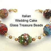 Vintage Italian Glass Wedding Cake Treasure Bead Bracelet with Faceted Crystals Many Colors