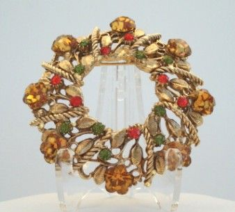 Vintage Autumn Golden Topaz Marguerite Glass Flower Brooch Hyacinth & Olvine Rhinestones