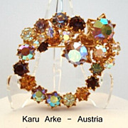 Stunning Vintage Autumn Inspired Karu Arke Gold Plated STAR Brooch Aurora Rhinestones Signed