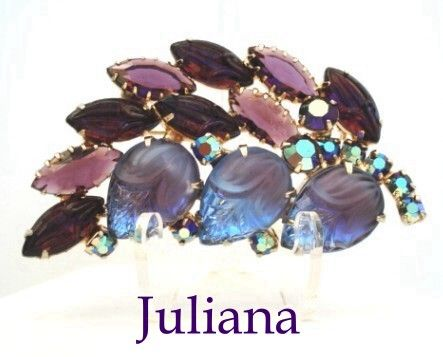 Sumptuous Vintage Juliana D&E Brooch Wisteria Colors Molded Glass Floral Stones AB Rhinestones