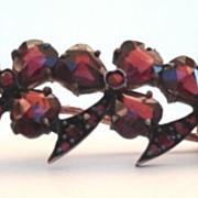 Premier Antique Victorian Heart Shape Rose Cut Bohemian Garnet Floral Brooch Pin