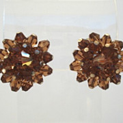 Vintage Crystal Earrings Smoked Topaz to Light Golden Topaz AB Aurora