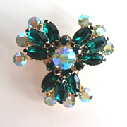 Vintage Emerald Green Rhinestone Floral Brooch Pin Large AB Aurora Borealis Gold Tone