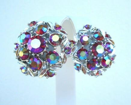 Vibrant Vintage Siren Red Aurora AB Rhinestone Floral Earrings