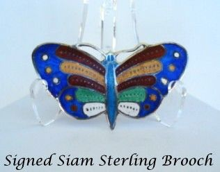 Rare Vintage Siam Sterling Silver Butterfly Brooch Pin Vibrant Enamels Signed