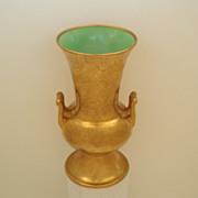 Seldom Seen Tall Vintage 1930's Handled Pickard Vase Rose & Daisy 24KT AOG