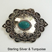 Vintage Native American Style Sterling Turquoise Brooch Pin Marked Highly Ornate Overlays