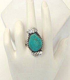 Prettiest Ever Turquoise Stone 1950's Vintage Native American Ring Leaf Overlays Sterling Silver