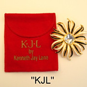Fabulous Vintage KJL Flower Brooch Perfect for a Cruise Signed Kenneth Jay Lane