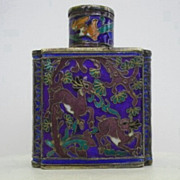 Early 1900's Japanese Cloisonné Scent Bottle Vibrant Floral & Animal Display