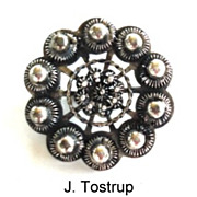 Rare Antique 1870's J. Tostrup Norway Norwegian Brooch Pin Sterling Silver Floral Filigree