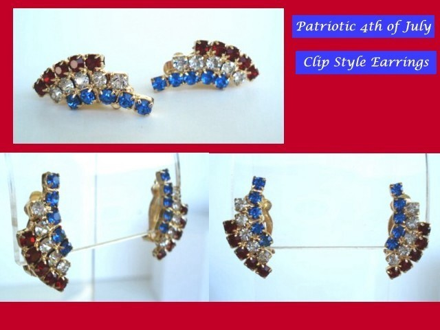 Patriotic 4th of July Vintage Earrings Red White & Blue Rhinestone
