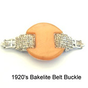 Premier Vintage 1920's Art Deco Bakelite Rhinestone Belt Buckle Signed