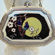 Vintage 1920's Art Deco Guilloche Enamel Dance Compact Exotic Birds Flowers Full-Moon 90% Silver