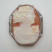 Antique 14KT White Gold Carved Cameo Brooch Pendant Hallmarked