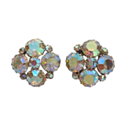 Pretty Vintage Signed Weiss Aurora AB Rhinestones Earrings