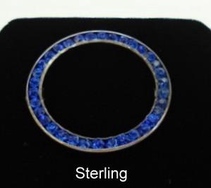 Pristine 1930's Vintage Cobalt Blue & Sterling Silver Brooch Pin C-clasp