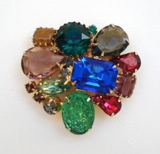 Vintage Rainbow of Colors Brooch Pin Art Glass Stones & Rhinestones