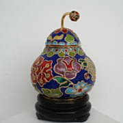 Vintage Japanese Cloisonne Lidded Pear Shape Jar with Stem Container Pot