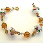 Vintage Art Glass Givre Stones With Embedded Florals & Crystals Bracelet