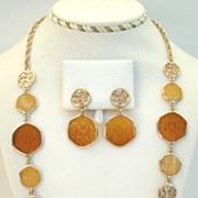 Versatile Vintage Sarah Coventry Taste of Honey Set Stain Glass Style Dangle Earrings
