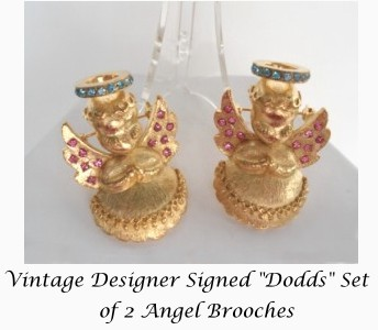 Adorable Vintage Signed Dodd's Set of 2 Angel Cherub Brooches Pins Rhinestones