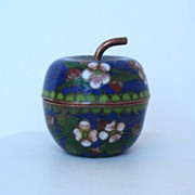 Older Vintage Japanese Cloisonné Lidded Apple Shape Jar Container Pot