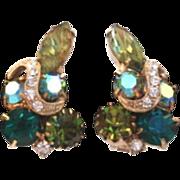Unsigned Weiss - Eisenberg Emerald & Olvine Rhinestone Earrings with Rhinestone Ribbon Icing