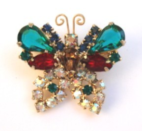 Vintage Bright Multiple Color Rhinestone Butterfly Brooch