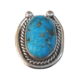 Vintage Native American Large Turquoise Sterling Silver Ring Lucky Horseshoe Design