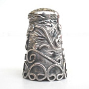 Exquisite Vintage Sterling Floral Thimble Multiple Ornate Overlays Signed Mexico