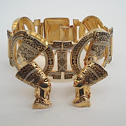 Fabulous Vintage Damascene Egyptian Nefertiti Link Bracelet & Earring Set Large Chunky
