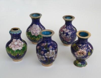 Vintage Lot 5 Japanese Cloisonné Miniature Vases Doll House Oriental