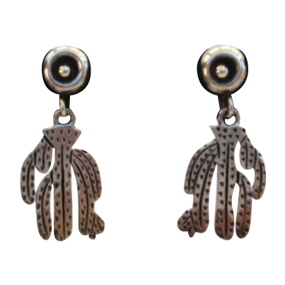Vintage Chunky & Bold Circa 1940's Mexican Sterling Silver Cactus Earrings