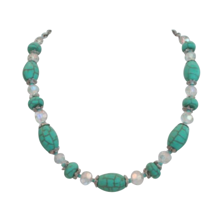 Vintage German Turquoise Matrix Artglass Stones & Austrian Crystal Necklace